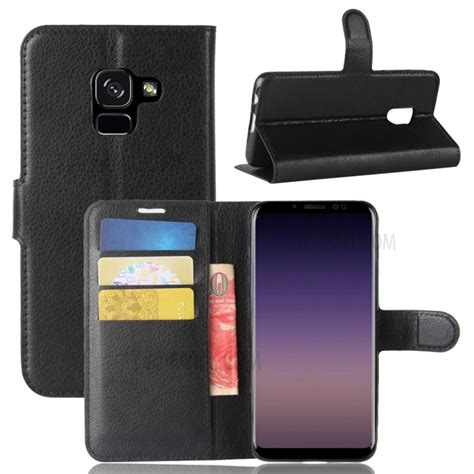 Samsung A8 2018 New Baby Skin High Copy litchi skin pu leather wallet stand phone shell for