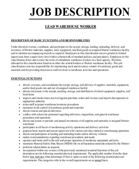 Sle Resume For Warehouse Lead 28 Warehouse Worker Duties Resume Exles Of Resumes Sle Resume Warehouse Description For