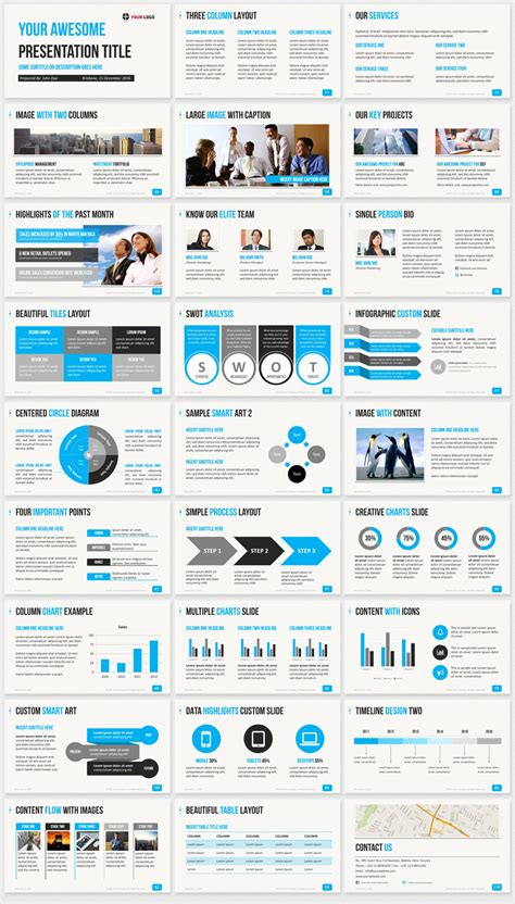 Ultimate Professional Business Powerpoint Template 1200 Clean Slides Business Slide Presentation Template