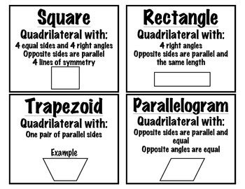 quadrilateral flashcards printable printable math vocabulary cards related keywords