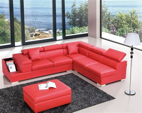 modern red leather sectional modern red leather sectional sofa 44l6040