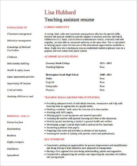 teacher assistant resume 8 sle assistant resumes sle templates