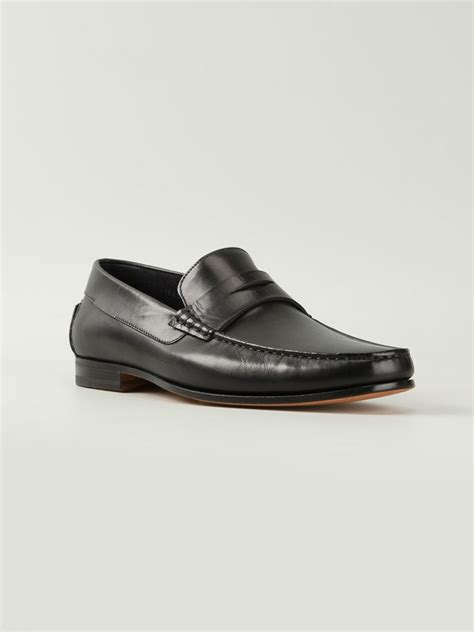 santoni loafers sale santoni loafers in black for lyst