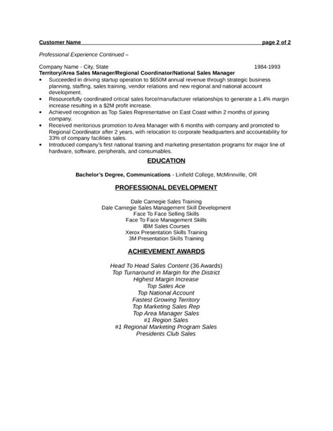 professional sales consultant resume template page 2