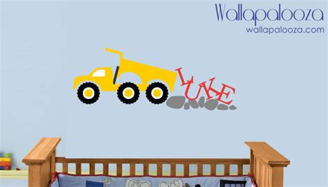 construction wall stickers construction wall decal boys name wall decal