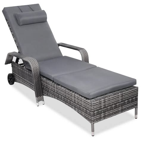 costway patio rattan chaise wicker outdoor lounge chair