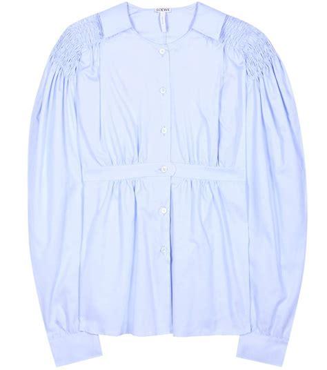 Original Moc Gosha Kemeja Light Blue loewe smocked cotton puff sleeve blouse light blue modesens