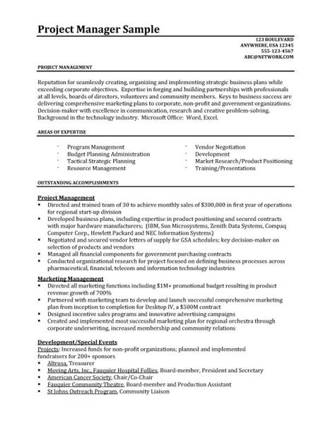 project manager sle resume format resume sles better written resumes