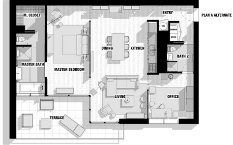 modern apartment floor plan with dimensions