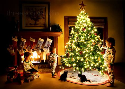cats children christmas christmas tree cute image