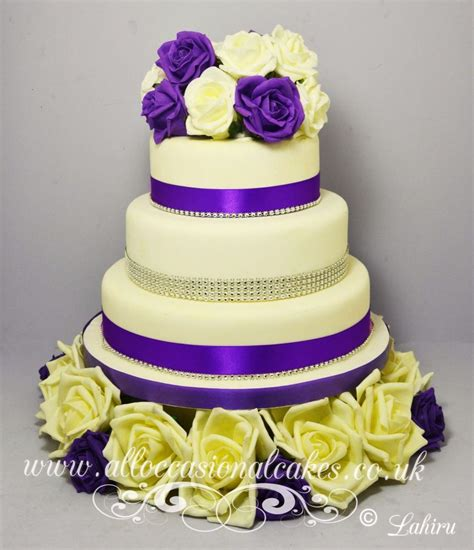 classic purple and white wedding cake with marzipan roses classic purple rose wedding cake purple rose wedding cake