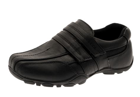 boys black faux leather school shoes childrens smart