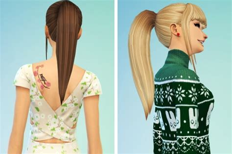 Sims 4 Ponytails With Bangs | sims 4 hairs simssticle ponytail with bangs
