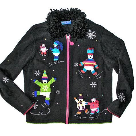Sweater Skaters Shaggy Collar Skating Snowmen Sweater