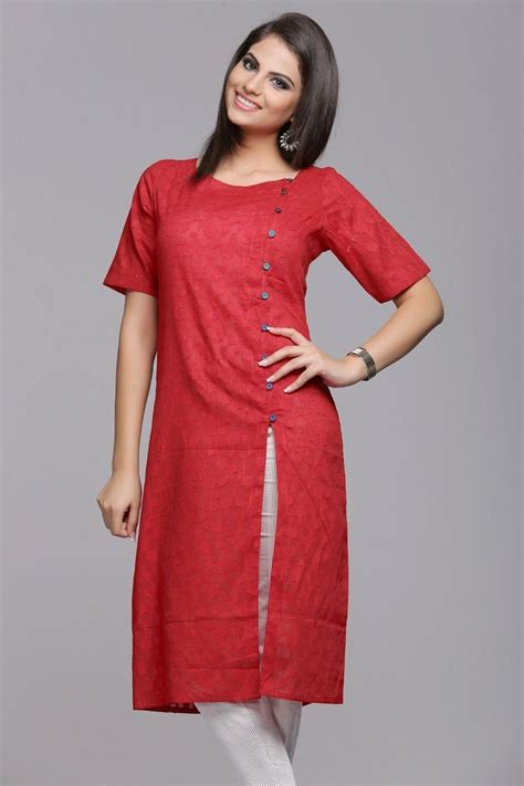 Kurta Button Pattern | stylish self patterned red cotton jacquard kurta with
