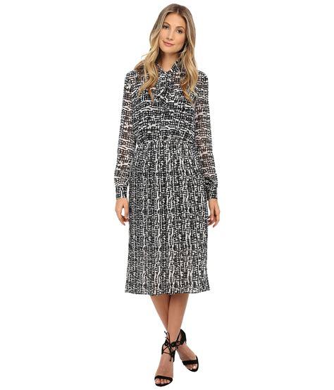 Midi Dress 166 donna sleeve chiffon midi dress with neck tie in black lyst