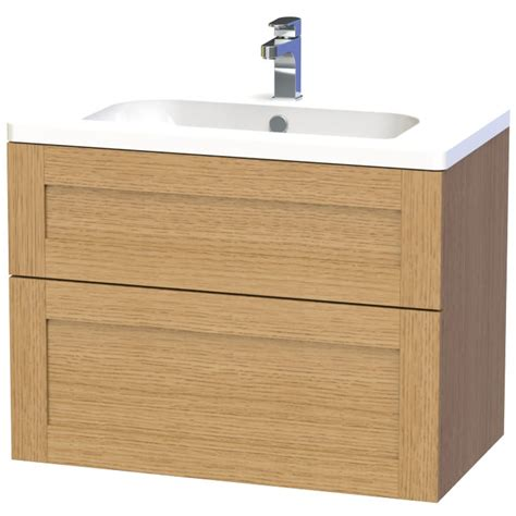Two Drawer Unit Miller 80 Oak Two Drawer Wall Hung Vanity Unit