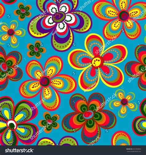 cute hippie pattern seamless colorful retro flower background pattern in