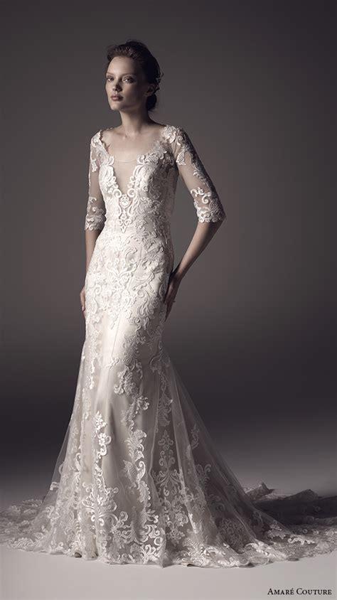 amar 233 couture by half sleeves keyhole back v neck design lace wedding dress