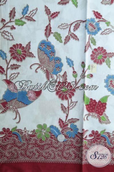 Batik Kupu kain batik warna biru muda motif kupu dan bunga kain