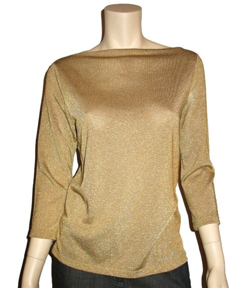 knit blouse ralph womens gold metallic knit top blouse