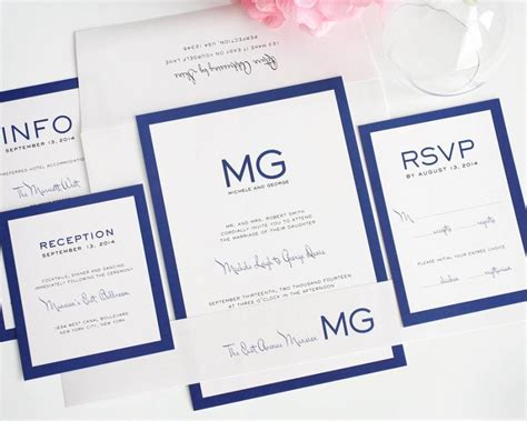Unique Contemporary Wedding Invitations by Modern Wedding Invitation Wedding Invite Blue Simple