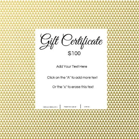 Gift Card Text Template by Gift Certificate Template With Customizable Background And