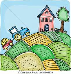 eps vectors of illustration of agricultural fields house