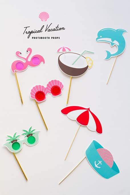 tropical party props cocktails and dreams photo booth printable tropical vacation photobooth props photo