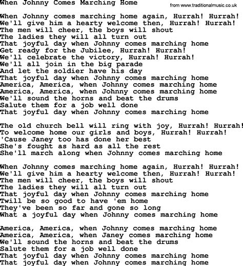 dolly parton song when johnny comes marching home lyrics