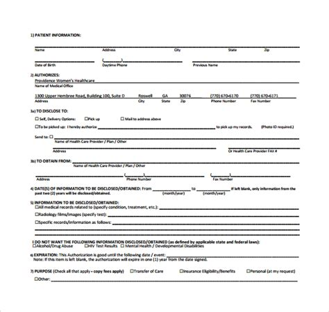 generic medical records release form 8 download free