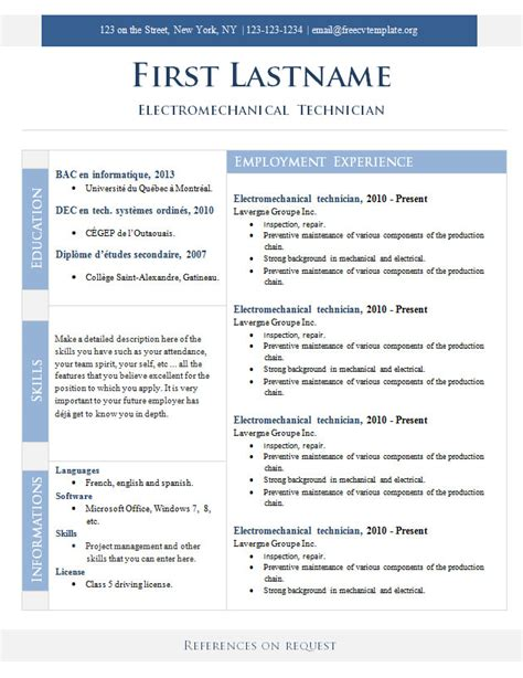 cv format template free free cv templates 268 to 274 free cv template dot org