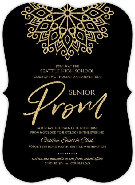 Prom Invitations Template Faux Gold Glitter Senior Prom Invitation Prom