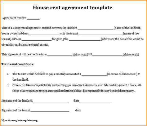 12  house rental agreement template   bibliography format