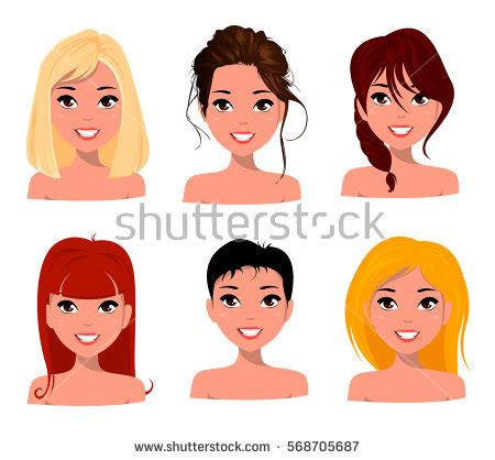 girl hairstyles vector young pretty women pretty faces different stock vector