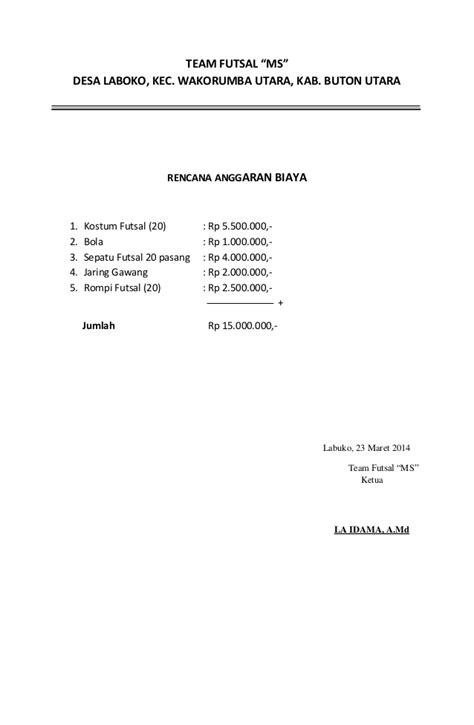 permohonan bantuan team futsal tahun anggaran 2014