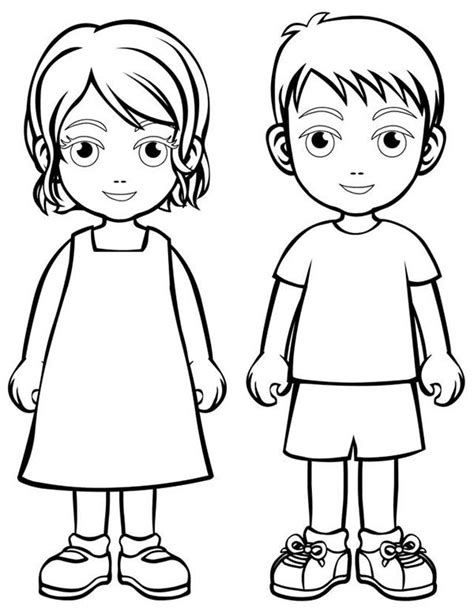 Two Children People Coloring Page Coloring Sky Colouring Pages Of Children