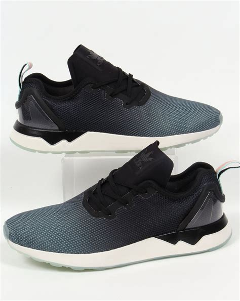 adidas zx flux patterned trainers adidas zx flux racer asym trainers black black blue glow