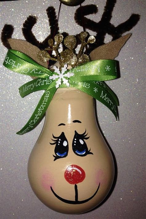 christmas painted light bulb ornament reindeer deer rudolph