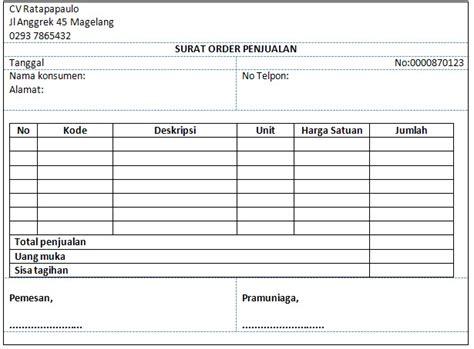 Buku Nota Bisa Request Nama Perusahaan sistem informasi akuntansi surat order penjualan