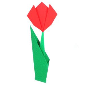 Origami Tulip Flower - how to make an easy origami tulip page 1