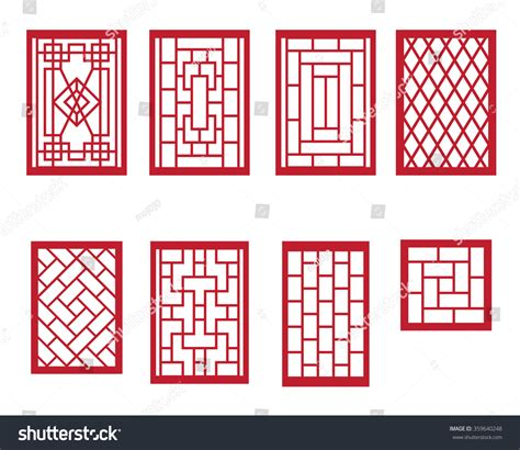 pattern window frame set chinese pattern window frame vectores en stock