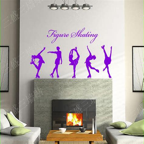 living room decals figure skating girls wall stickers large wall decals for
