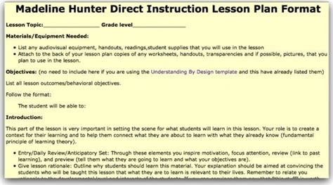 10 Best Madeline Hunter Lesson Plans Images On Pinterest Lesson Planning Lesson Plans And Madeline Lesson Plan Template