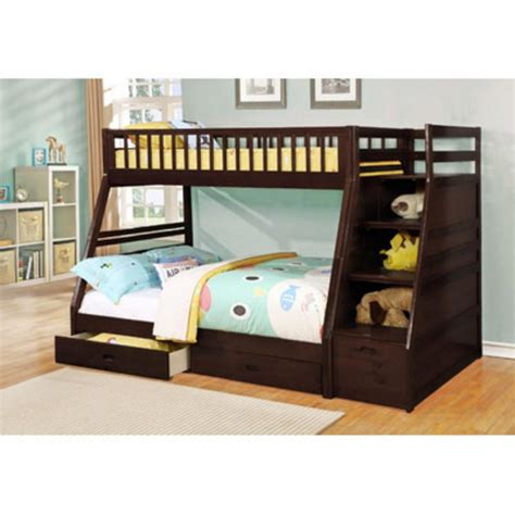 Wildon Home Dakota Twin Over Full Bunk Bed With Storage Allentown Bunk Bed Espresso