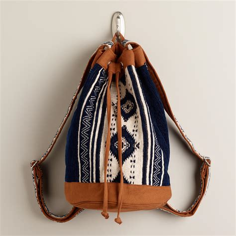 Backpack Tribal Blur blue and tribal woven backpack world market