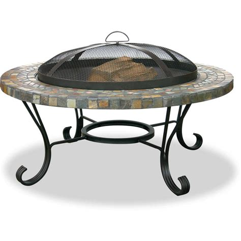 33 Inch Fire Pit Table By Uniflame Slate Tile With Slate Firepit