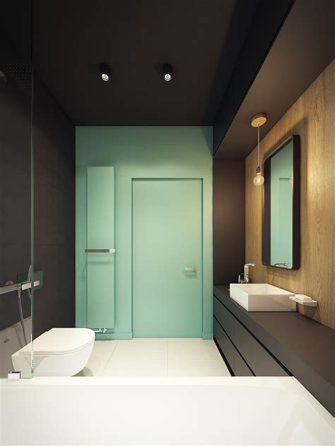 dark turquoise bathroom this contemporary apartment pops with turquoise accents