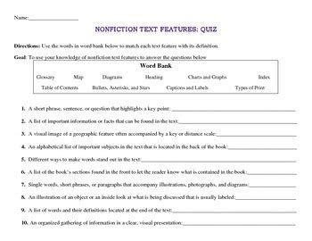 Text Features Practice Worksheets by 100 Nonfiction Text Features Worksheets Reading