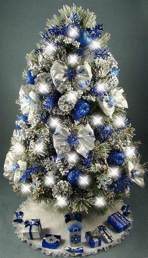 lovely silver and blue and white christmas tree